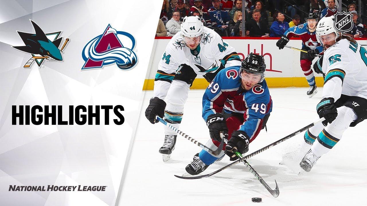 NHL Highlights | Sharks @ Avalanche 1/16/20