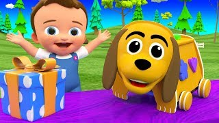 Learning Colors & Shapes for Children with Wooden Dog Cartoon Shapes Toy Set 3D Kids Educational