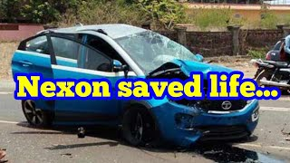 Real accident of Tata Nexon .How build quality saved the life of people.