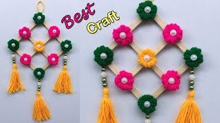 DIY wall hanging craft ideas easy with waste material/Popsicle Stick Wall Hanging/Best out of Wool