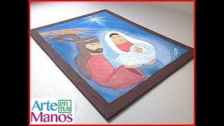 Cuadro de la Sagrada Familia en técnica con pasta de yeso