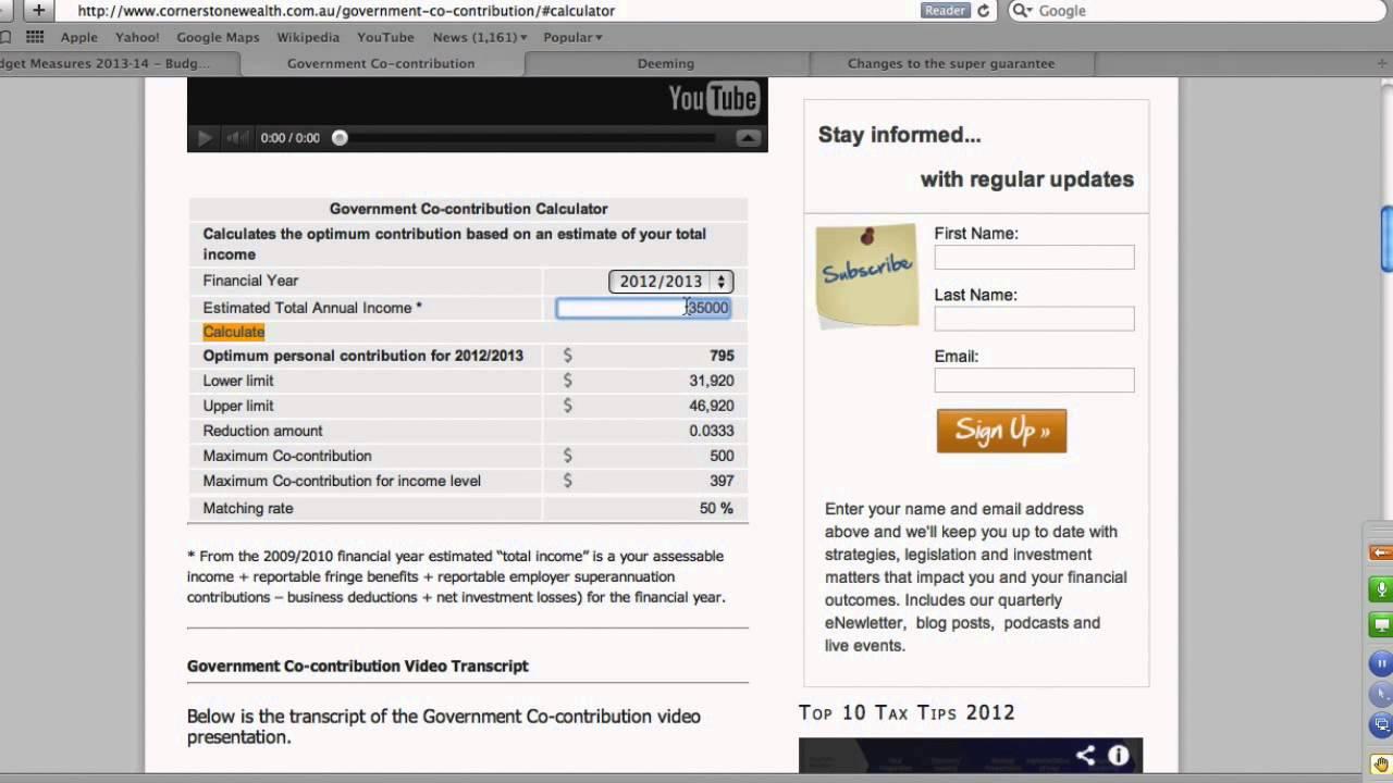 Government super co-contribution calculator.