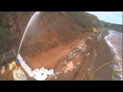 Hytrans HS150 high volume mobile water supply pump at the UK Dawlish contolled landslide using HVP