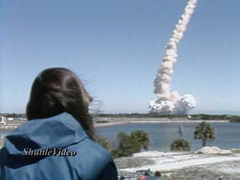 Space Shuttle Challenger Explosion - Isolated Camera - TV-4 - Press Site