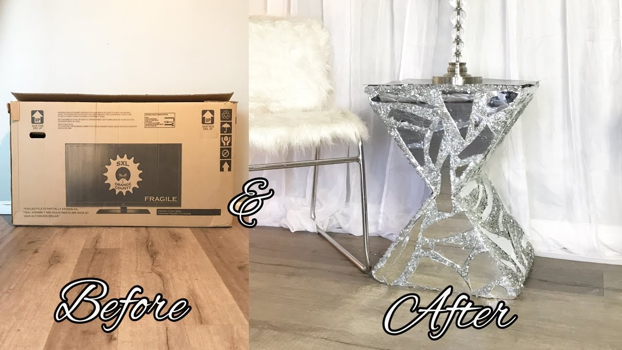 DIY MIRRORED SIDE TABLE | Made out of cardboard