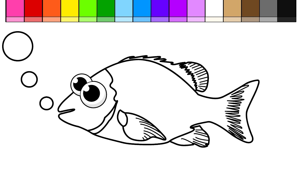 Learn Colors For Kids And Color Draw This Under Water Fish Coloring Page