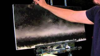 Time lapse misty forest landscape painting using Interference paints by Tim Gagnon