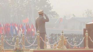 スー・チーさんをけん制 民政移管後初の国軍記念日