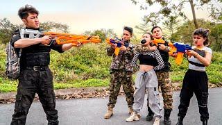 Pretty Girl Nerf War: Captain SEAL Warrior Nerf Guns Kidnapper Group Rescue Girl Love