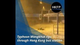 Super Typhoon #Mangkhut causes dramatic flooding at Hong Kong bus station