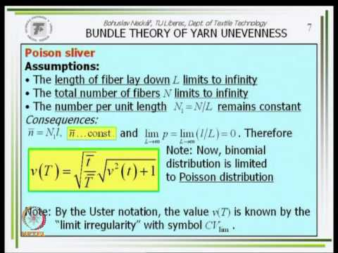 Mod-01 Lec-13 Relations Among Yarn Count T, Twist Z, Packing Density, And Diameter D
