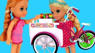 ICE CREAM Bike ! ELSA & ANNA toddlers -Beach - Watching beautiful Sunset thumbnail