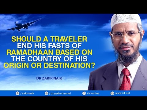 SHOULD A TRAVELER END HIS FASTS OF RAMADHAAN BASED ON THE COUNTRY OF HIS ORIGIN OR DESTINATION?