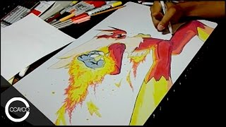 Drawing Blaziken Playmat (Pokemon)