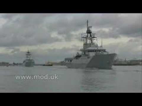 HMS Clyde sets sail for the South Atlantic