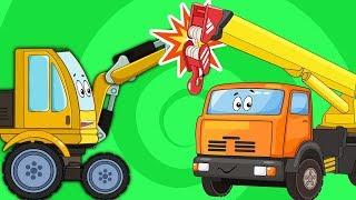 Мультик Про Машинки  Подъемный Кран Автобус Синий Трактор  Сборник Все Серии Подряд