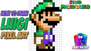 How to Draw Luigi from Super Mario World - 16-Bit Pixel Art Drawing Tutorial