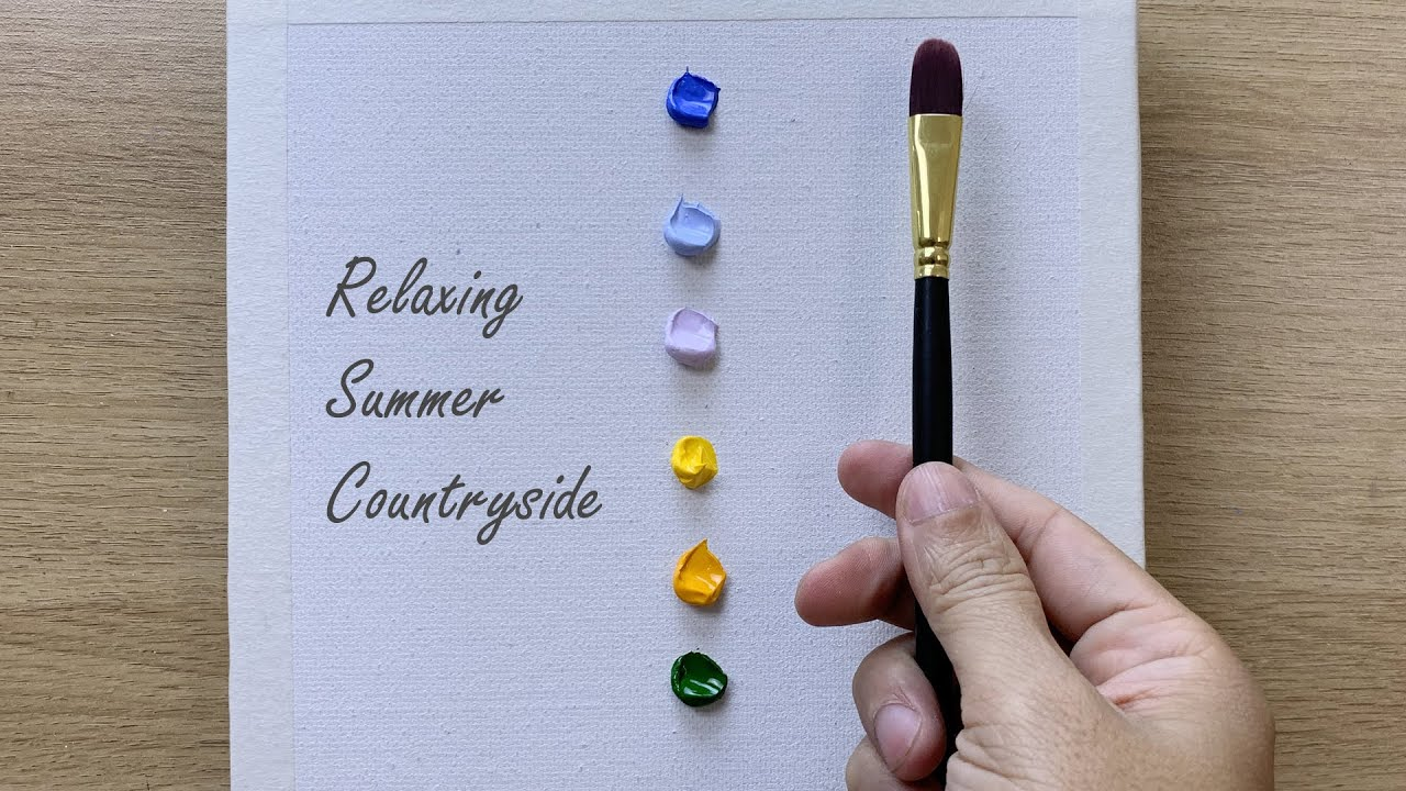 Daily challenge # 216/ Easy Art / Relaxing Summer Countryside Painting