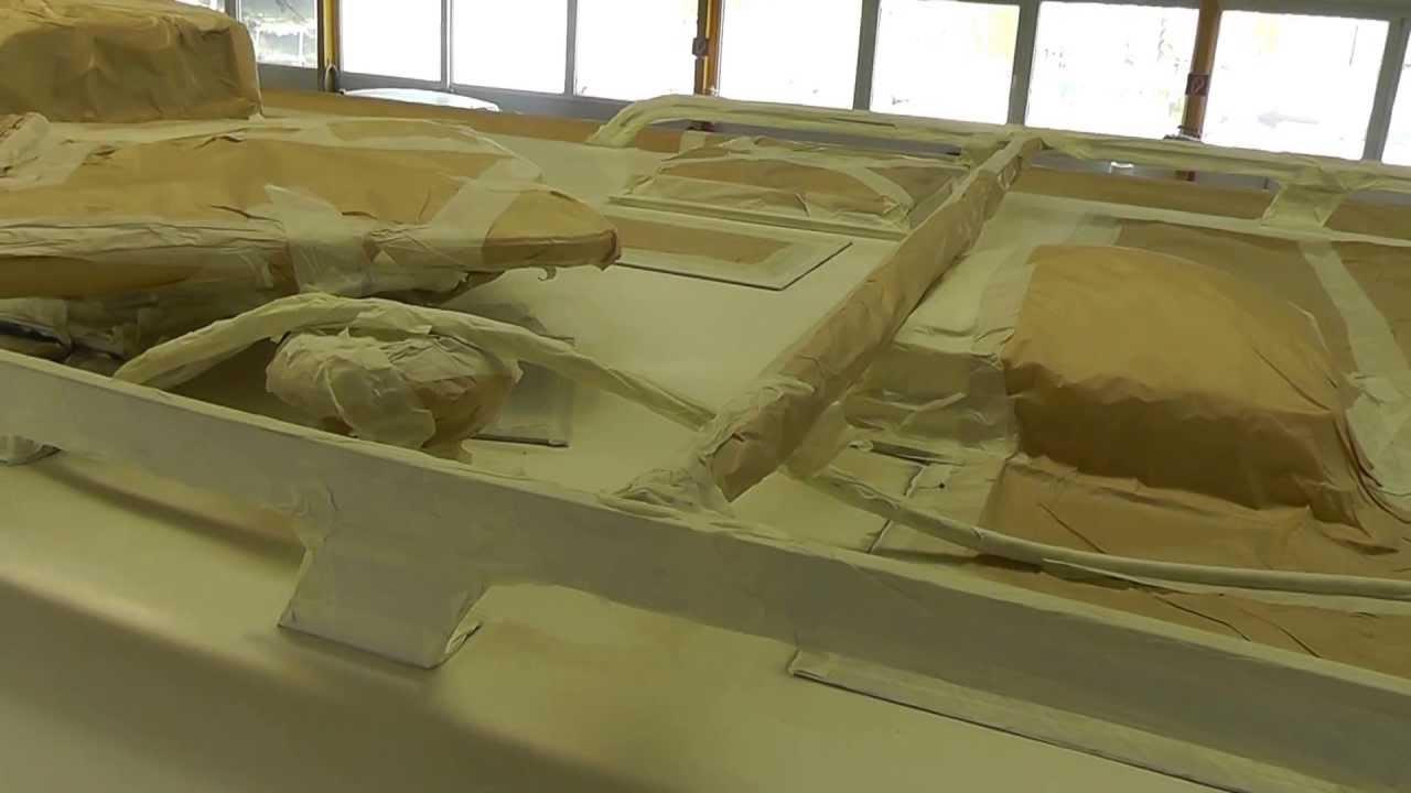 vorbereitung f r die lackierung des gfk dachs beim hymer s 700 youtube. Black Bedroom Furniture Sets. Home Design Ideas