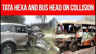 Hexa Accident 🔥 | Tata Hexa and bus head on collision | Puranpur Accident