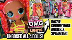 LOL Surprise OMG Lights Dolls Dazzle, Speedster, Angles, & Groovy Babe lol omg lights