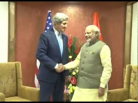 PM Modi meets the US Secretary of State, John Kerry in Gandhinagar