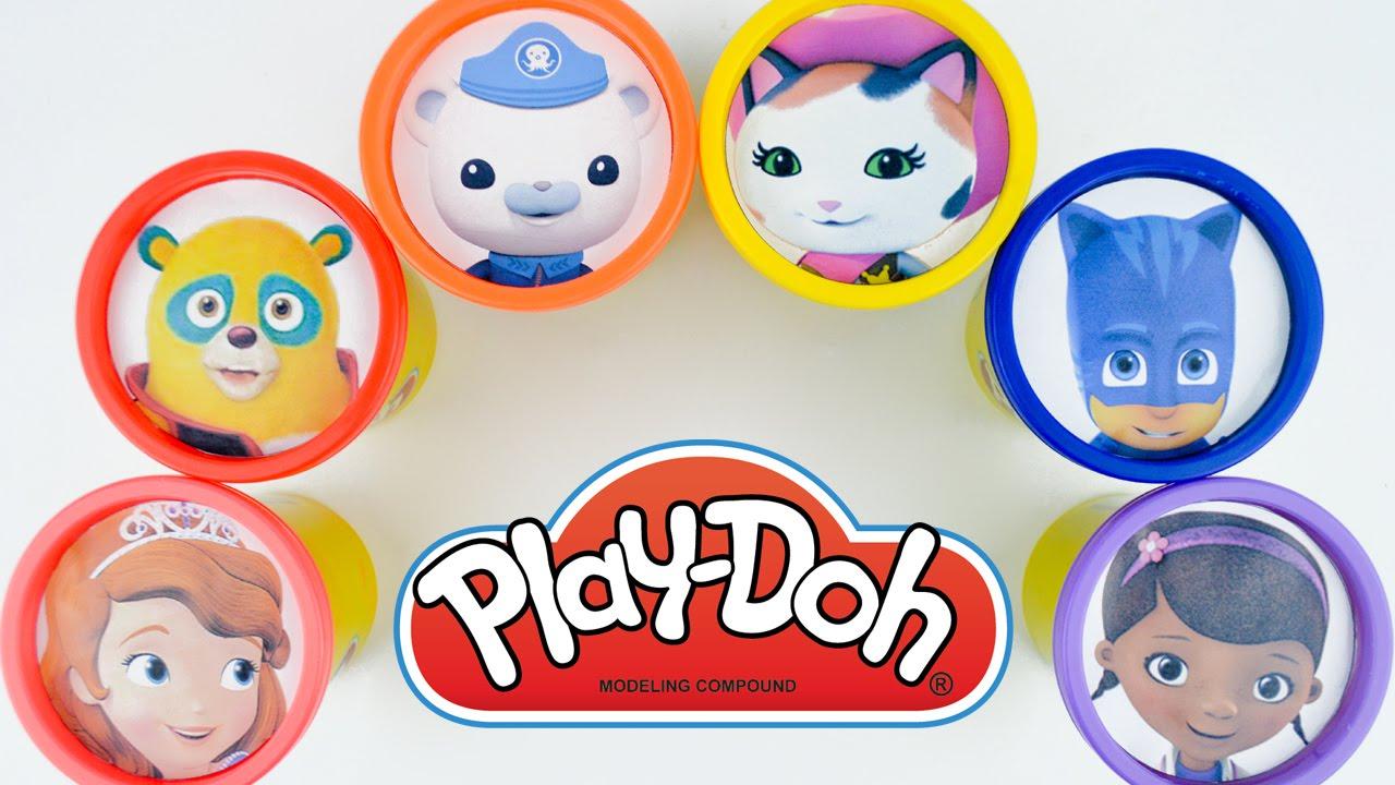 Disney Junior Shows Play Doh Cans Tubs PJ Masks Sheriff Callie Octonauts Learn Colors Surpise Toys