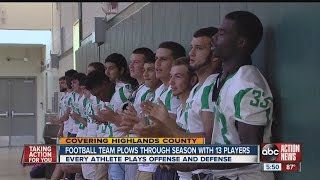 Lake Placid High School football players play entire game, offense and defense