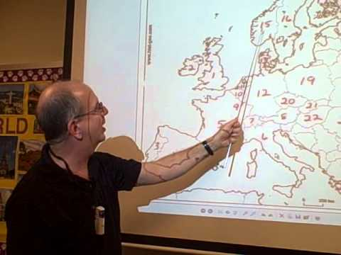Dr. Meeker leads his class in the Europe Map Rap