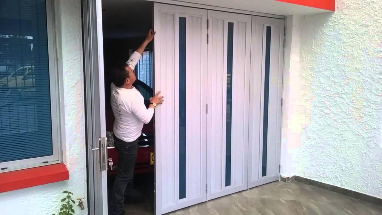 Puerta entamborada colgante corrediza sistema plegable - Puertas plegables de aluminio ...