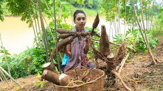 Cooking Cassava with Coconut milk in my village