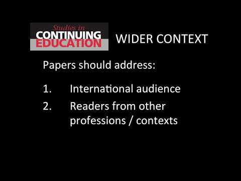 Advice from Studies in Continuing Education journal editors