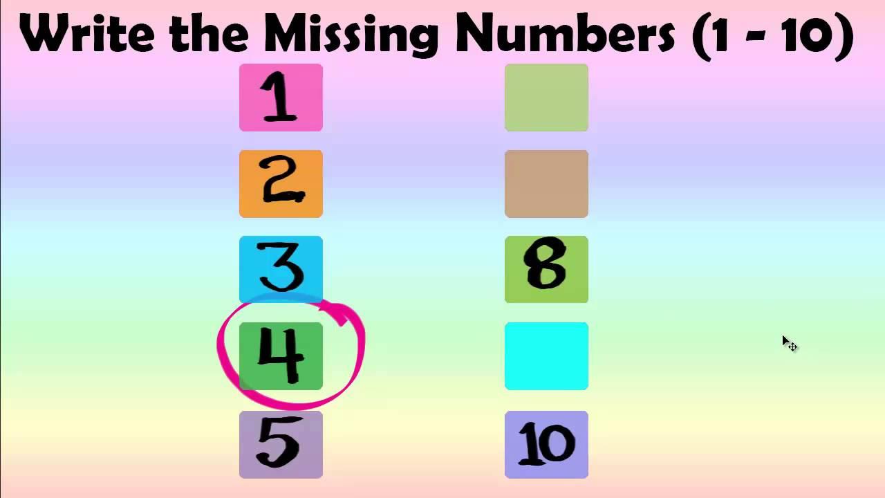 Kids Numbers Write Missing Numbers 1 10 Best Kids Learning