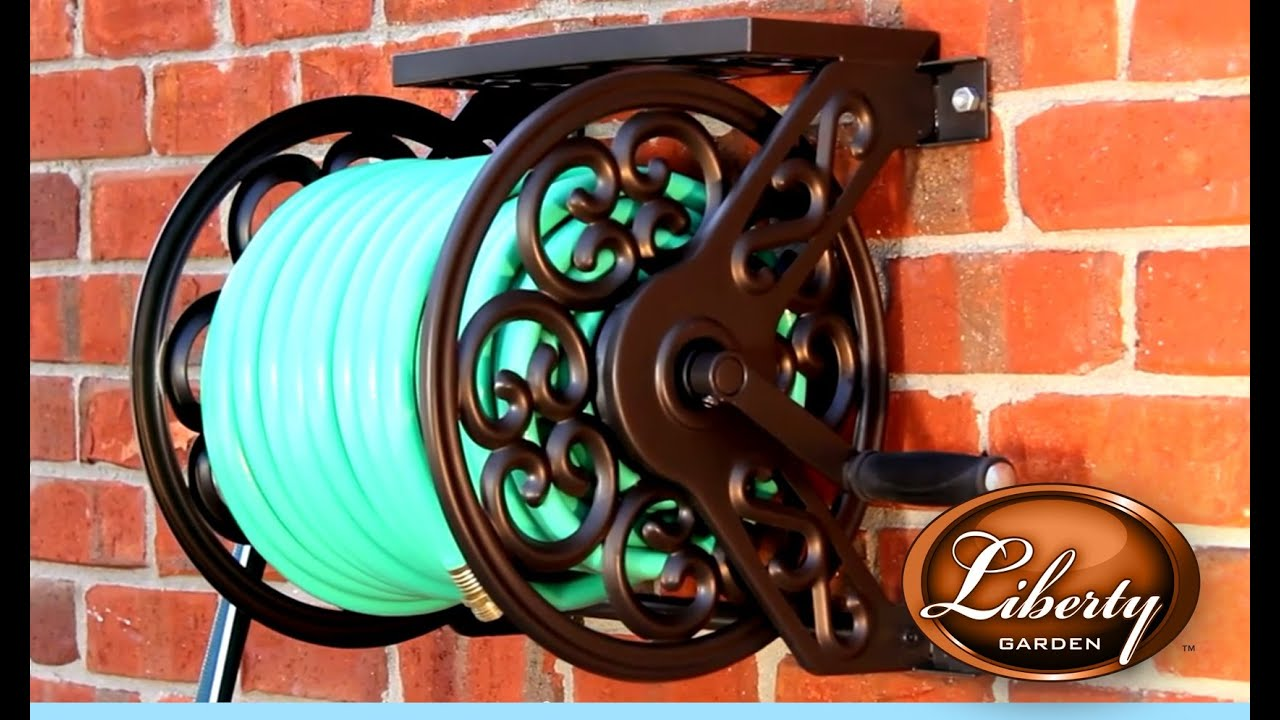 Liberty Garden Model 708 Decorative Wall Mounted Hose Reel   YouTube