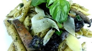 Portabella Penne With Black Bean Pesto Recipe   August Cooking   Vegetarian Recipe   How To Cook
