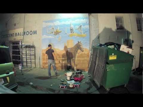 Time Lapse of Photo Backdrop Mural for Crescent Ballroom
