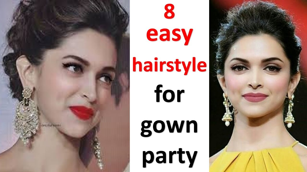 8 Quick Hairstyle With Gown Hairstyle With Gown Hairstyle Foe Thin Hair Hairstyle For Party Youtube