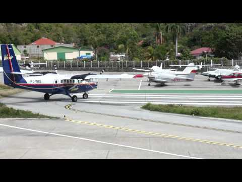 Take off from St. Barthelemy, French Antilles, Caribbean. Twin Otter