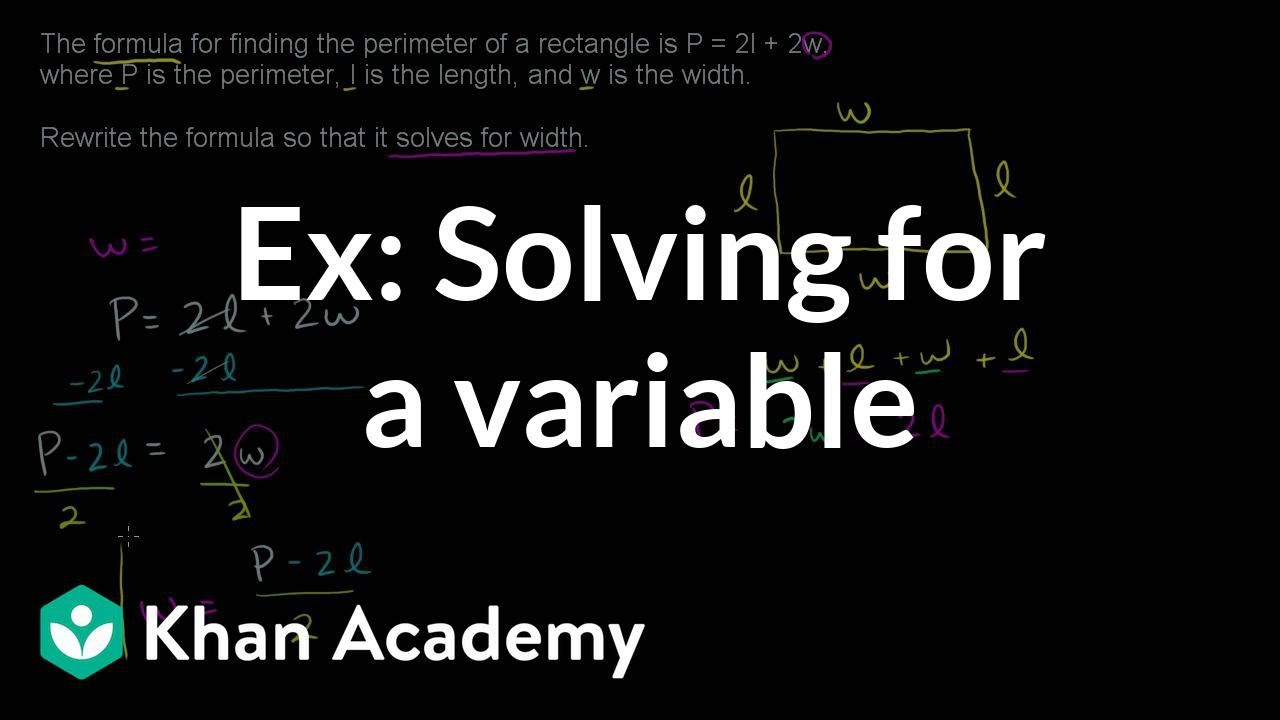 Example: Solving for a variable | Linear equations | Algebra I | Khan Academy