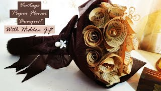 Vintage Paper Flower Bouquet with hidden gift holder idea