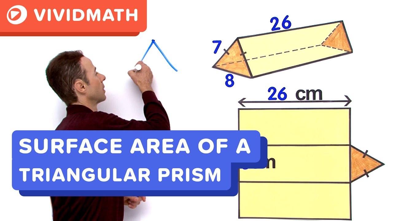 medium resolution of Surface Area of a Triangular Prism - VividMath.com - YouTube