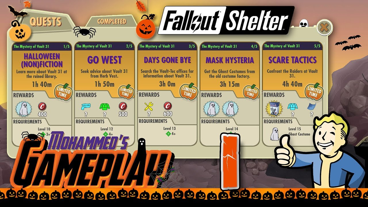 Fallout Shelter Halloween 2020 Quest The Mystery of Vault 31  Fallout Shelter Halloween 2017 Quest #1