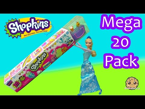 Disney Frozen Queen Elsa Unboxes Shopkins Season 4 MEGA 20 Pack - Toy Video Cookieswirlc