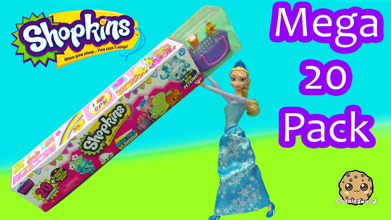 Disney Frozen Queen Elsa Unboxes Shopkins Season 4 MEGA 20 Pack