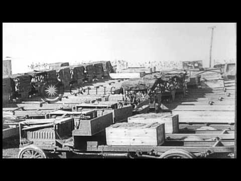 Allied military equipment unloaded from the freighter Arakan at a port in Bordeau...HD Stock Footage