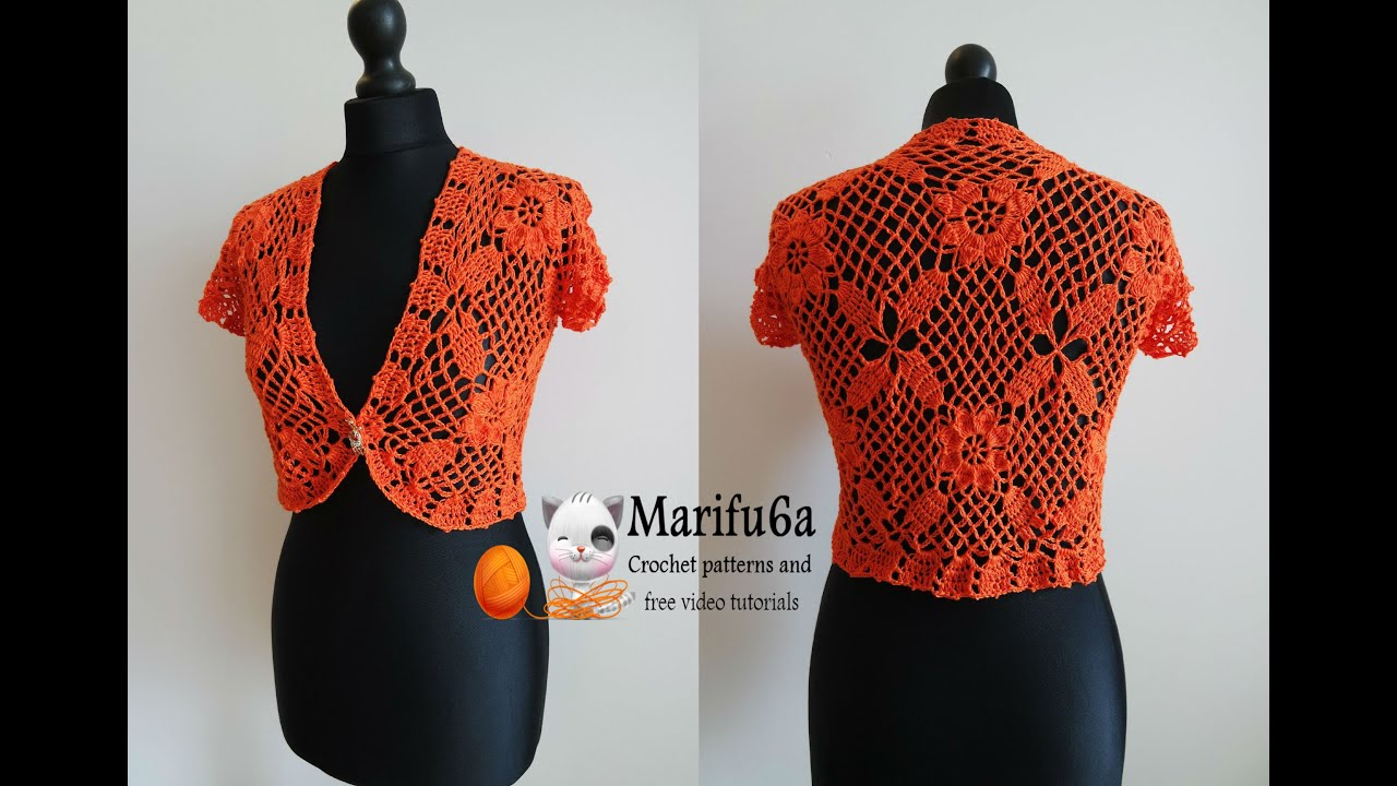 how to crochet easy bolero primavera from 10 squares all sizes free ...