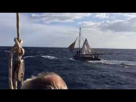 Sailing in strong winds near Haiti and capturing local sailers