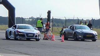 Nissan GTR R35 VS Audi R8 vs C63 AMG & MORE! DRAG RACE!