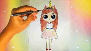 как нарисовать единорога милую девочку ЛЕГКО? Лёгкие рисунки для детей