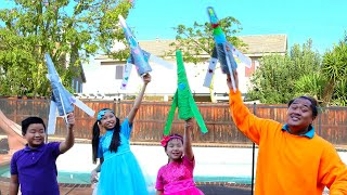 Jannie and Wendy Pretend Play Bottle Rocket DIY Science Experiment for Kids | OVER THE MOON Movie